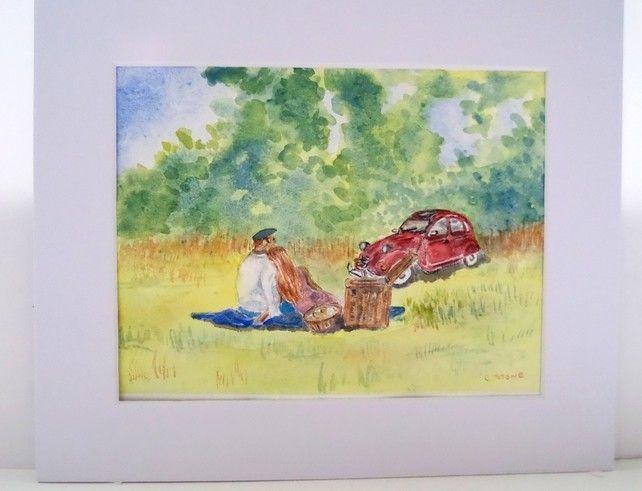 Original Watercolour Painting Countryside Picnic With Classic Citroen 2cv Car Original Watercolor Painting Painting Original Watercolors
