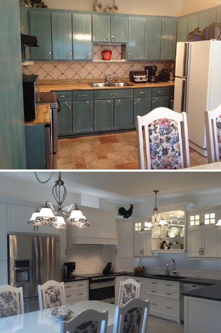 Avant-Après – la cuisine de Marie-France : Les armoires sont en bois d'érable avec des portes au centre plat de couleur feuille de riz. Notez l'allure chic de la hotte!