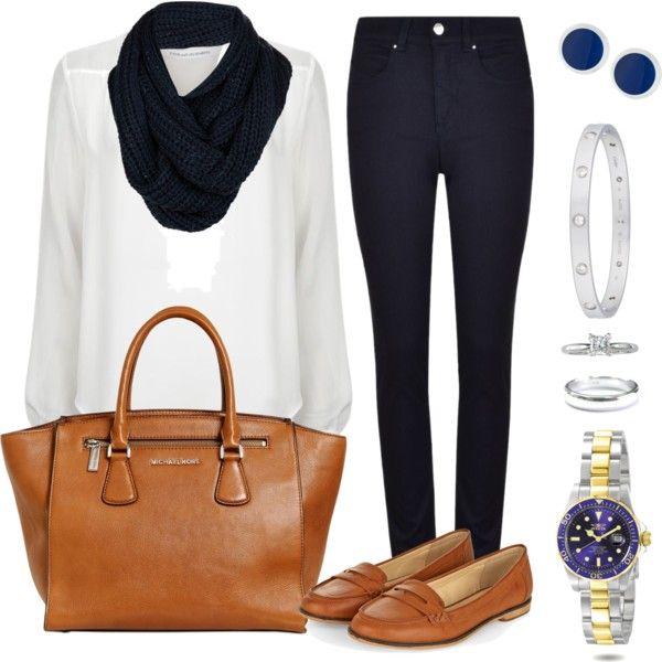Andrea Moda y Asesoría: Blusa Blanca Pantalón Azul Oscuro FW15-16