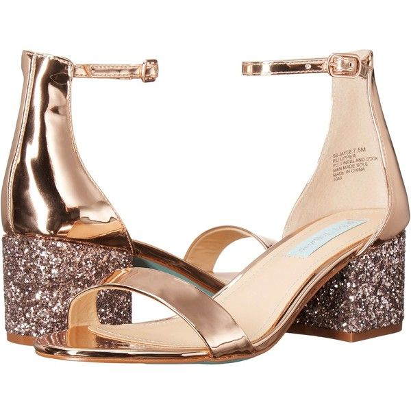 Blue by Betsey Johnson Jayce (Rose Gold Multi) Women's 1-2 inch heel... ($90) ❤ liked on Polyvore featuring shoes, sandals, mid-heel sandals, metallic shoes, betsey johnson shoes, metallic sandals and block heel platform sandals