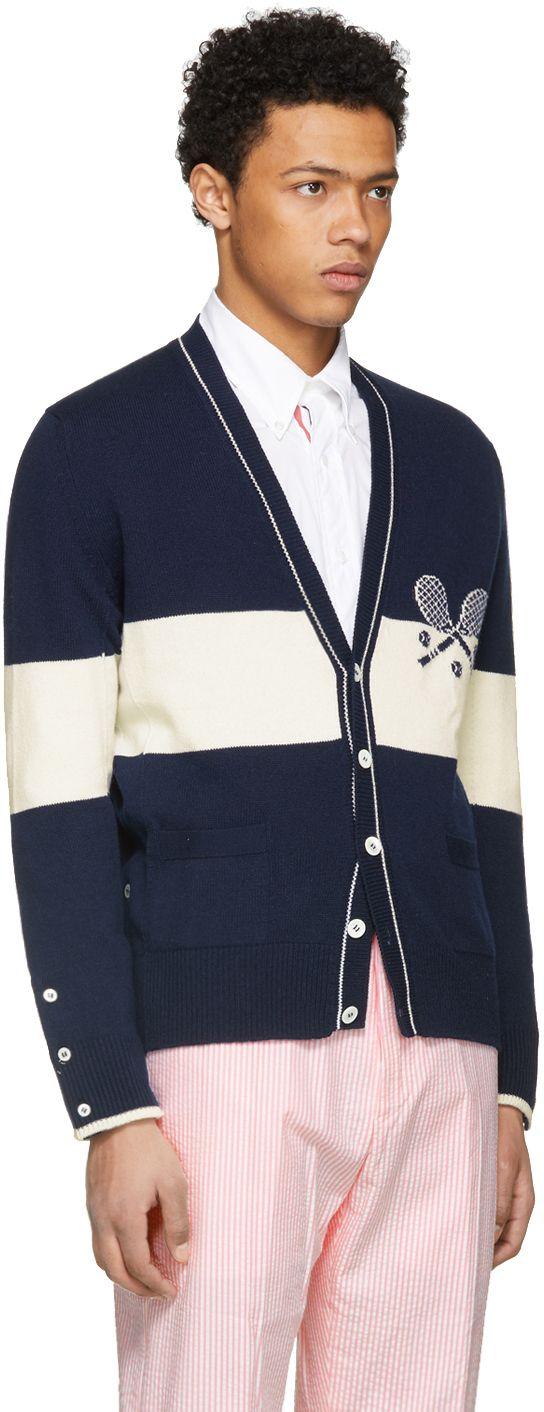 Thom Browne - Navy Striped Tennis Cardigan