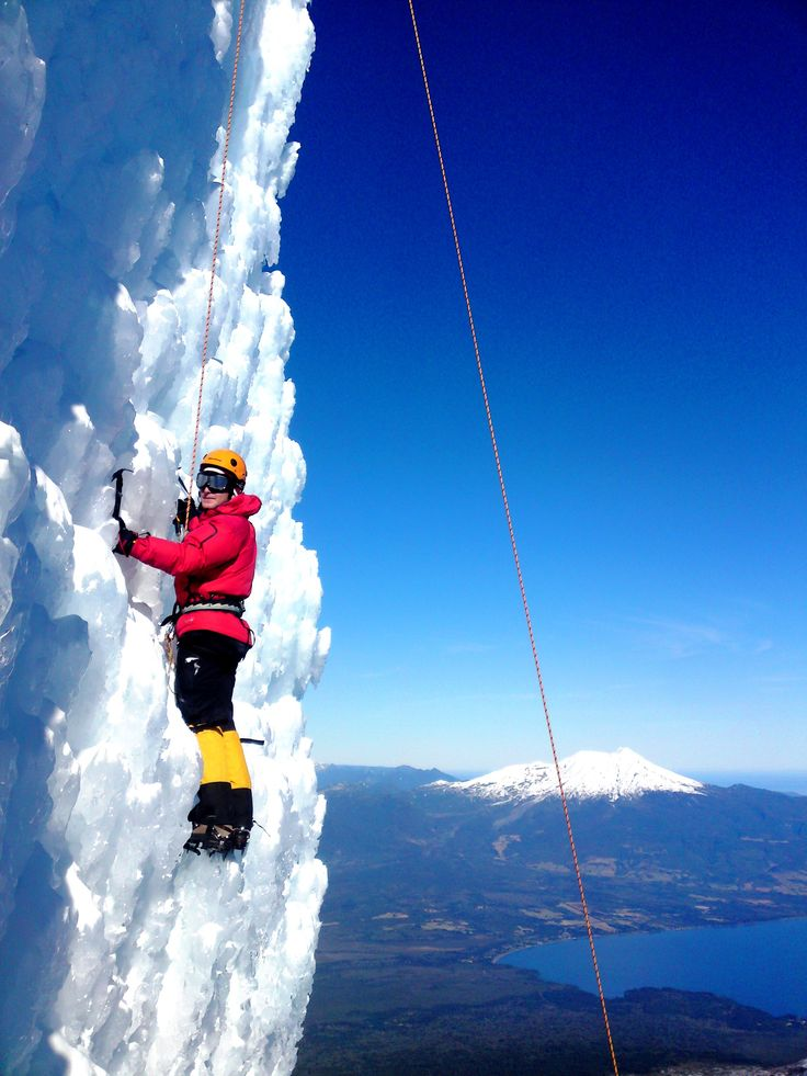 What a view! Climbing Osorno volcano, Lake Llanquihue at the bottom and Calbuco volcano as a background.