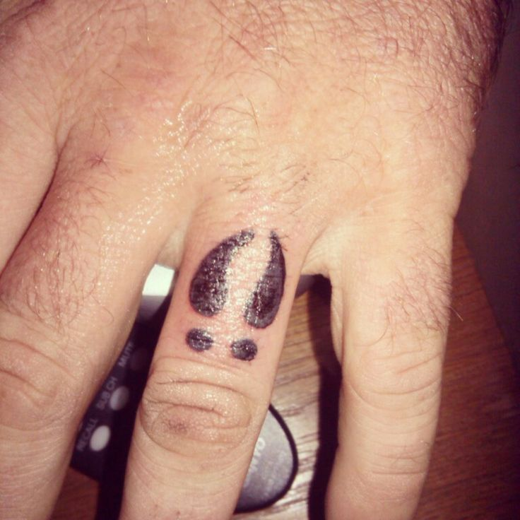 My husband's finger tattoo Deer track