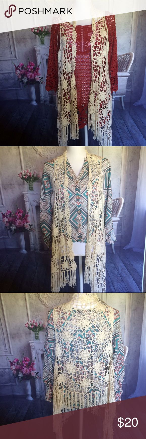 New Crochet Cardigan Sz Small Cream Color Very pretty cardigan sz small ex condition longer in front sides shorter in back new with tag, only cardigan for sale on this listing. The other tops different listing. Tops