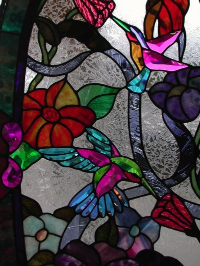 for men store stained glass arch transom   Stained Glass hummingbirds