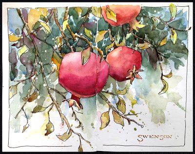 {watercolor} forbidden fruit demonstration