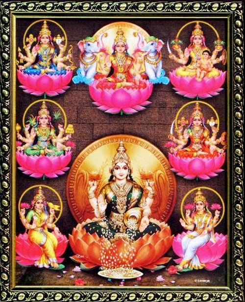 Eight forms of #Goddess #Lakshmi  Ashta Lakshmi is the manifestation of the same Goddess Lakshmi in eight different forms. These eight forms of Goddess Lakshmi represent eight different forms of wealth. Goddess Lakshmi is the mother of all forms of wealth and prosperity. She is the wife of the Preserver, #Lord #Vishnu.  Dhana Lakshmi Dhairya Lakshmi Santan Lakshmi Gaja LakshmiVidya  LakshmiVijay Lakshmi Dhanya Lakshmi