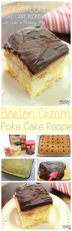 Easy to make Boston Cream Poke Cake made with JELL-O Pudding and Duncan Hines Cake Mix. This recipe is so easy with just a few simple ingredients.