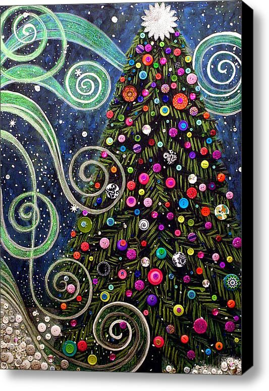 Button Tree 0012-holiday Stretched Canvas Print / Canvas Art By Monica Furlow