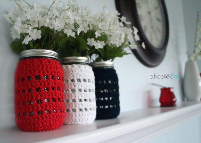 Crochet Mason Jar Cozy - free pattern plus LEFT & RIGHT Handed videos from B.hooked crochet.