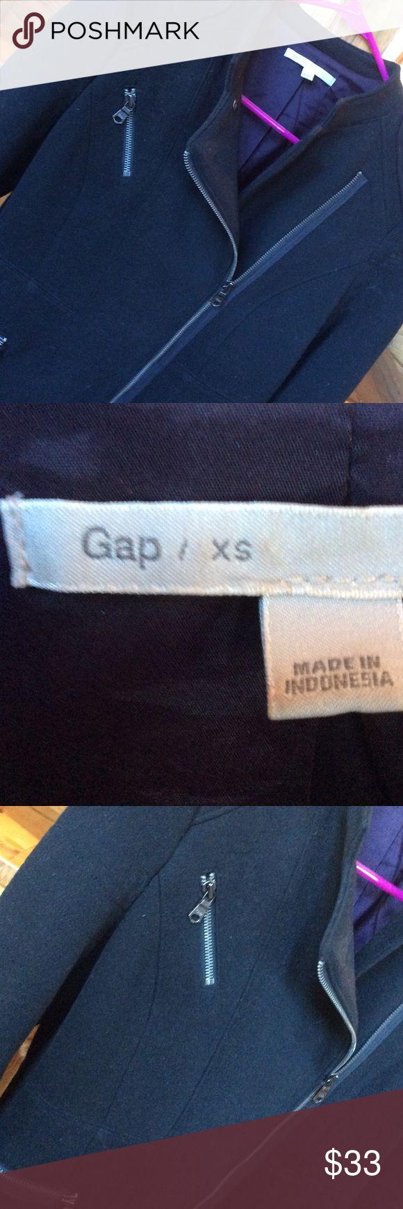 Gap jacket Dark navy blue, looks almost black  XS  jacket with zippered sleeves GAP Jackets & Coats Utility Jackets