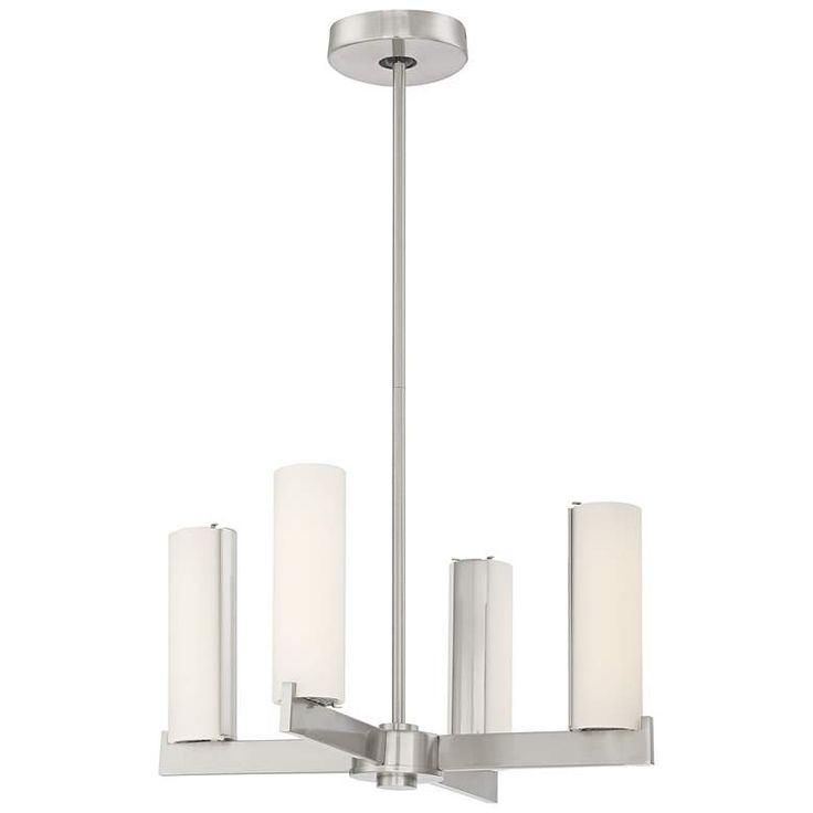 George Kovacs Tube 18″ Wide Brushed Nickel LED Chandelier