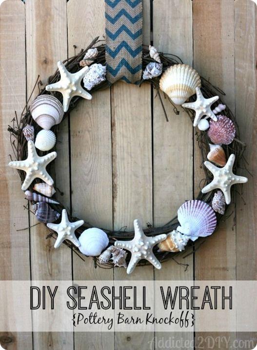 Faux Shell Wreath for a Housewarming Gift