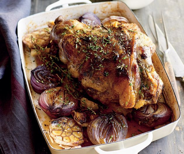 Slow-cooked leg of lamb with onions and garlic | Lantern
