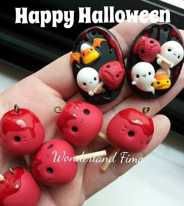 Halloween polymer clay charms by Wonderland Fimo.
