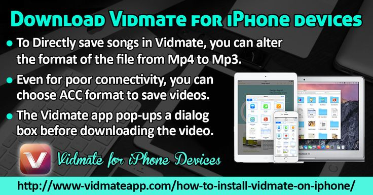 The Vidmate app is the best video downloading tool which enables the video downloading. It includes several popular websites such as Vimeo, Vuclip, LiveLeak and DailyMotion. Besides downloading videos, it enables you to play online videos and music files.   Website: http://www-vidmateapp.com/how-to-install-vidmate-on-iphone/