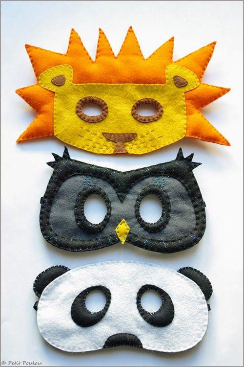 DIY : Masques loup en feutrine : lion, hibou, panda