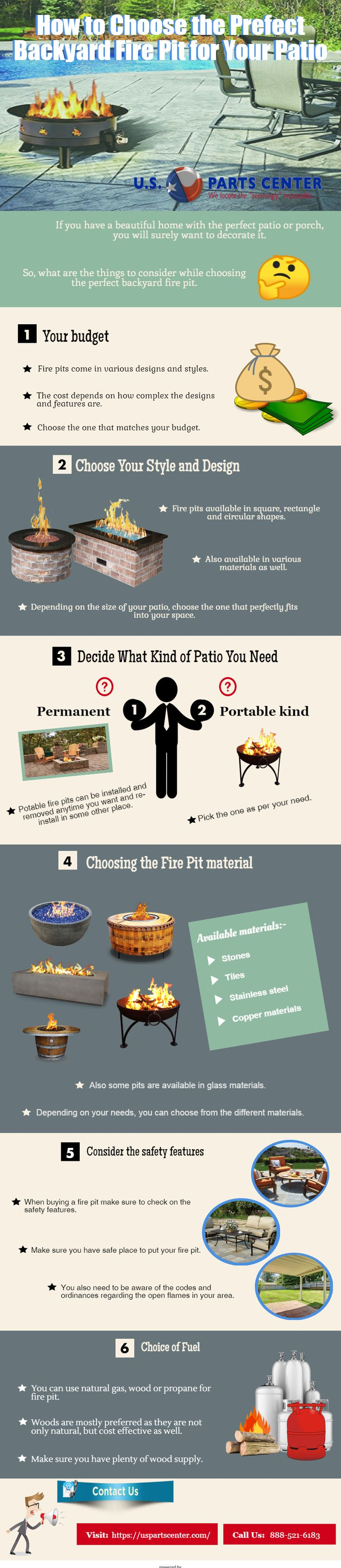 U.S Parts Centre offers a wide selection of backyard fire pit for sale from the best manufacturers. Here are few tips on how to choose the perfect backyard fire pit for your patio. Let's have a look!