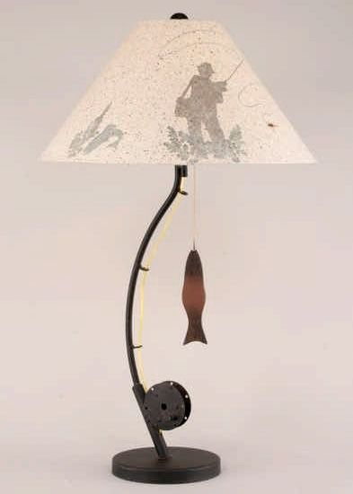 ON SALE! Fly Fishing Pole Table Lamp w/Fish Pull Chain