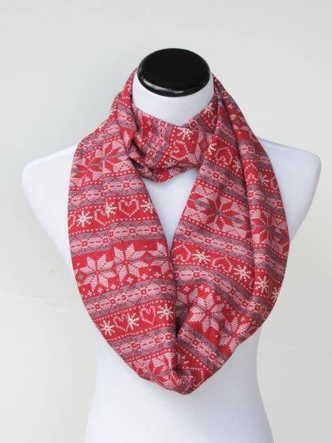 Red fair isle infinity scarf Scandinavian Nordic Christmas