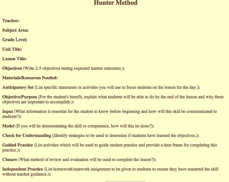 Madeline Hunter Lesson Plan Template-1