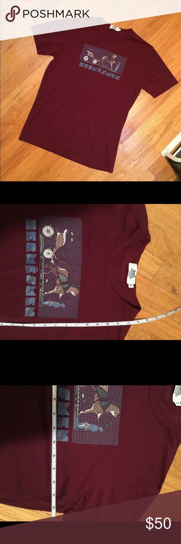 Hermes Men Burgundy Tee Like new. No stains, tears or pilling. Make an offer! Hermes Shirts Tees - Short Sleeve