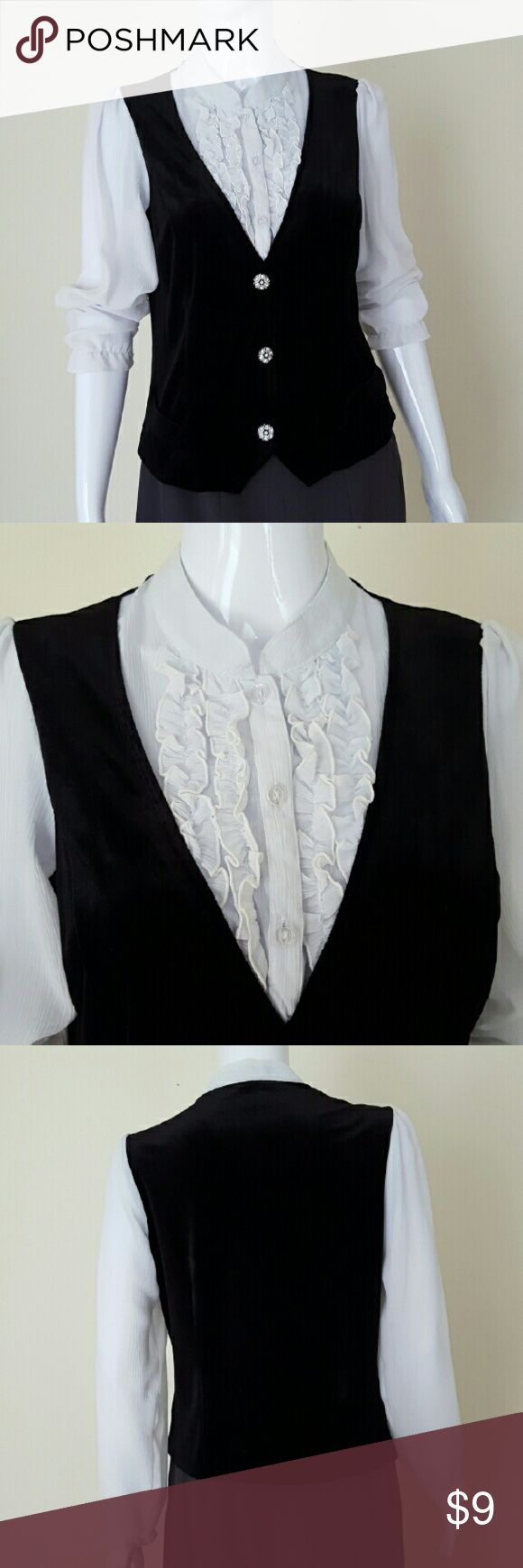 """Black and White Blouse The nicest features of this blouse include black """"vest"""" and ruffled front deco. It is ideal for both work and party. The black vest like body is velvet. The white part is lightweight. Body: 90%polyester, 10%spandex. Combo: 100% polyester. Excellent condition. Notations Tops Blouses"""