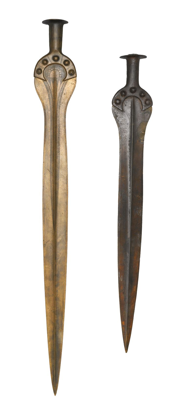 Imported swords from Åmosen and Stensgård. Many objects found in Denmark testify to long-distance trade networks. The swords from Stensgård and Torupgårde were made in Hungary or Romania.