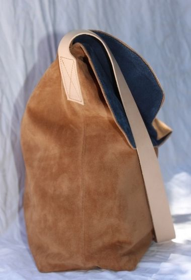The Chloe bag, Tan suede with Navy suede lining