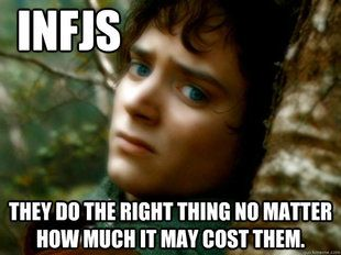 INFJ Frodo...(too funny, I did one of those FB quizzes on which Lord of the Rings character are you and it said, Frodo) nailed it!