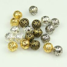 200 szt hollow ball koraliki 10mm abalorios metal charms brązu złota posrebrzane filigranowe spacer koraliki biżuteria dokonywanie diy micangas(China (Mainland))
