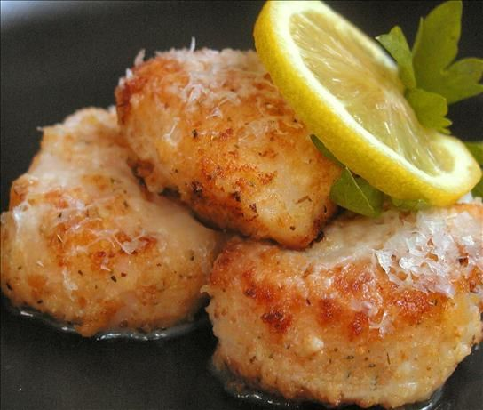 Pan Seared Scallops from Food.com:   Very simple preparation that preserves the delicate, sweet flavor of the scallops. I didn't have Romano on hand, so I used Parmigiano-Reggiano and just grated it directly over the scallops in the skillet.