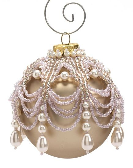 Victorian charm - Jewelry Store--Drape seed beads and pearls from a holiday ornament topper worked in herringbone stitch, peyote stitch, and fringe. $3.95 pattern