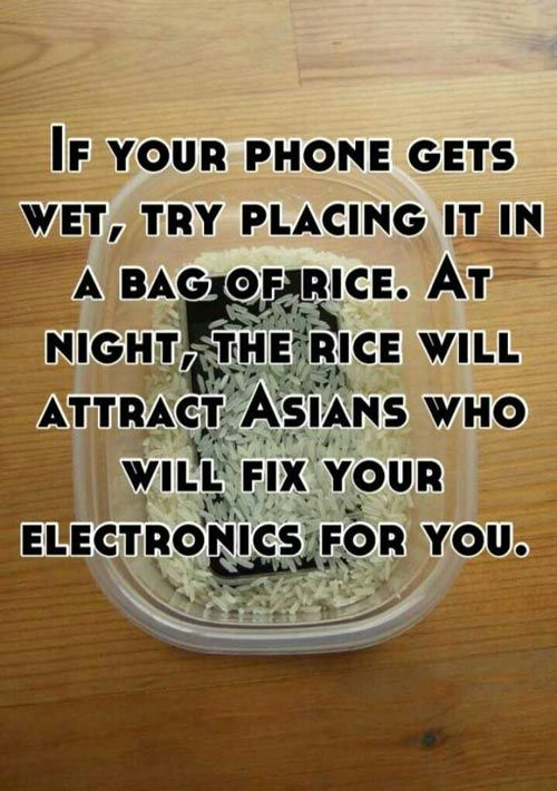 If your phone gets wet, try placing it in a bag of rice. At night, the rice will attract Asians who will fix your electronics for you.