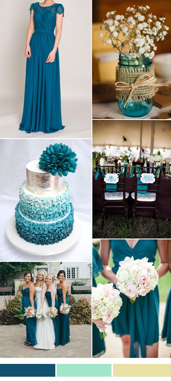 teal wedding color ideas and lace bridesmaid dress trends #weddingcolors