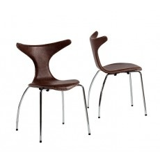 dining chairs - muted beige leather