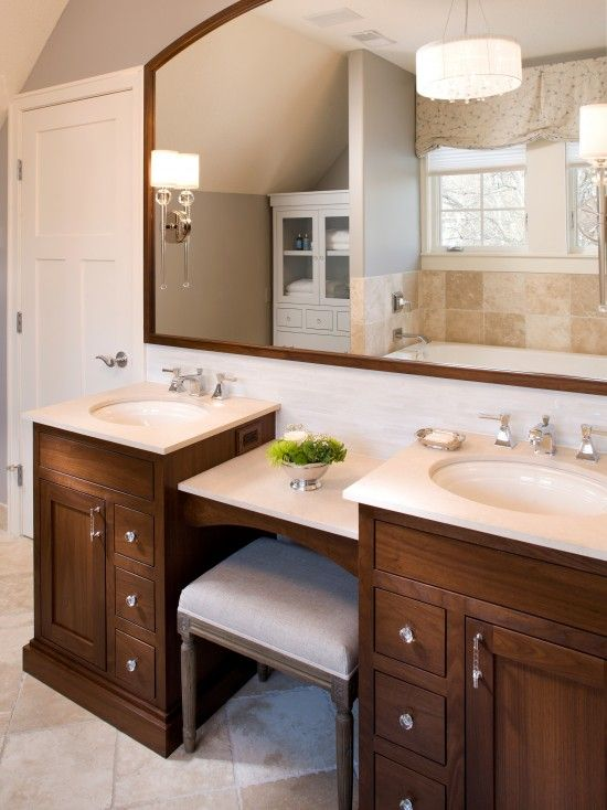 Double vanity with makeup area home pinterest Double bathroom vanity with makeup area