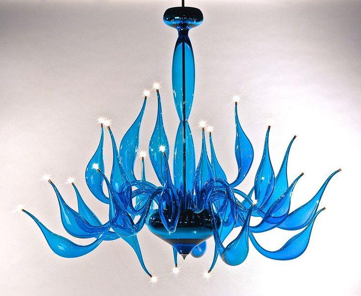 lampadari moderno : Lampadario moderno in vetro soffiato di Murano LU 14 Turchese della ...
