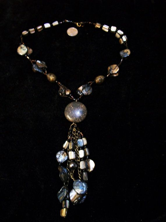 Black Mother of Pearl Shell Necklace by Dare2beUNIQUE