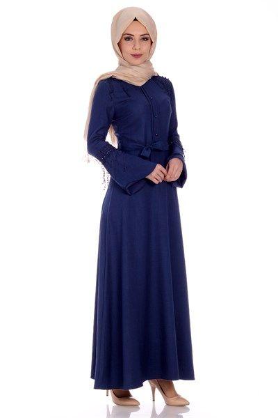 İnci Düğmeli Elbise 0244 - Gece Mavi Abiye Modelleri - Kirazgiyim.com