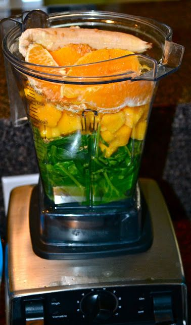 F-COMBS Green Smoothie   Ingredients:  1-2 tablespoons flaxseed 1 cup coconut water 1 whole orange, peeled 3/4 cup frozen mango chunks 1/2 frozen banana 2-3 large handfuls of fresh organic spinach Ice (until consistency you like)