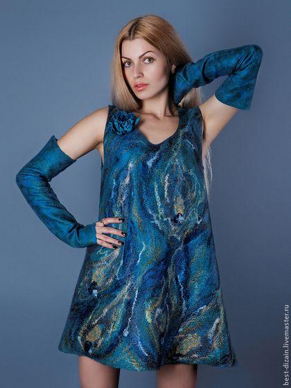 """Платья ручной работы. Ярмарка Мастеров - ручная работа. Купить Платье """"перо павлина"""". Handmade. Тёмно-бирюзовый"""