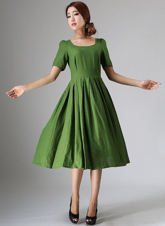 Cute midi dress Green linen dress with back button by xiaolizi ... 56168da3ccdf