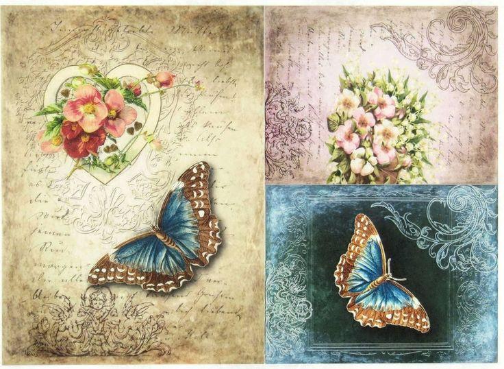 A/4 Classic Decoupage Paper Scrapbook Sheet Vintage Butterfly