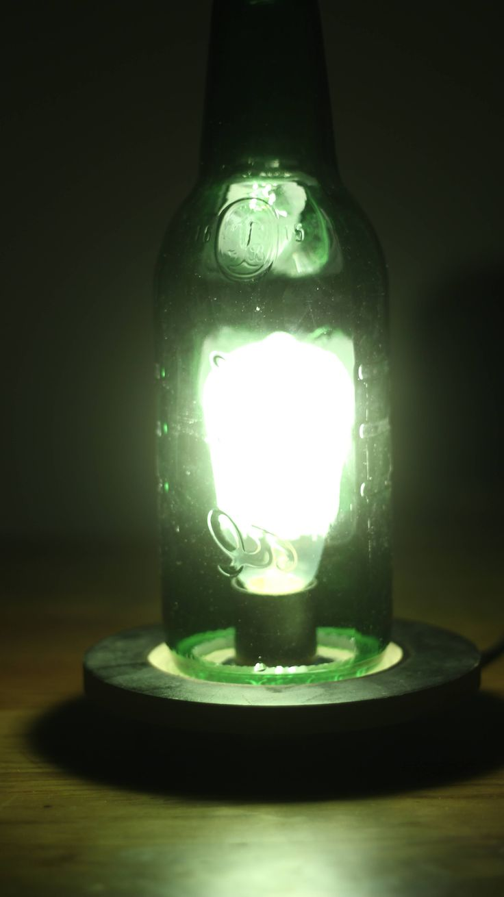 Made a lamp from a 3-liter gift bottle of Grolsch beer