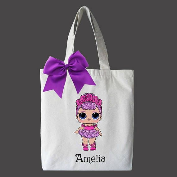 L.O.L Surprise Dolls - Personalized Tote for Kids Perfect for Birthday Gifts and Christmas Gifts! || ABOUT THIS ITEM || ◆ Handmade item / Made with Love! ◆ Only Available in Medium Tote (13 x 13) ◆ Includes matching bow and Name Personalization ◆ Price depends on character image size