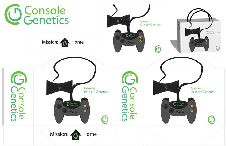 Console Genetics is a fictitious electronic company with a bag prototype and template design.