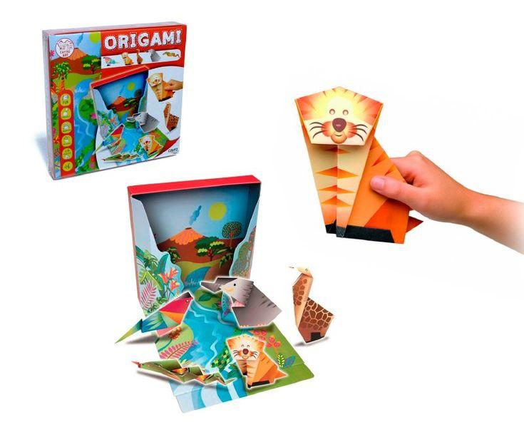 Origami un juego que podrás estimular la diversión, creatividad, imaginación y educación,  de los niños, crea paso a paso  tu figura en 3D,  incluye un escenario para recrear las 5 variedades  de los animales de la selva.