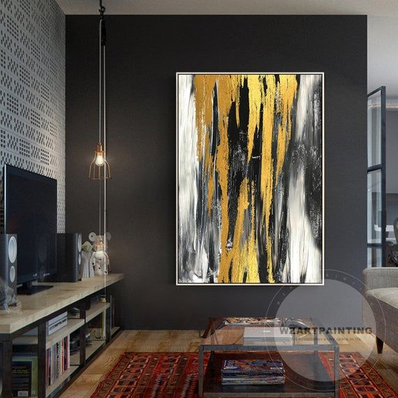 Modern Abstract Gold Black White Large Wall Art Print Painting On Canvas Luxury Cuadros Large Wall Art P Diy Abstract Canvas Art Boho Canvas Art Gold Art Print