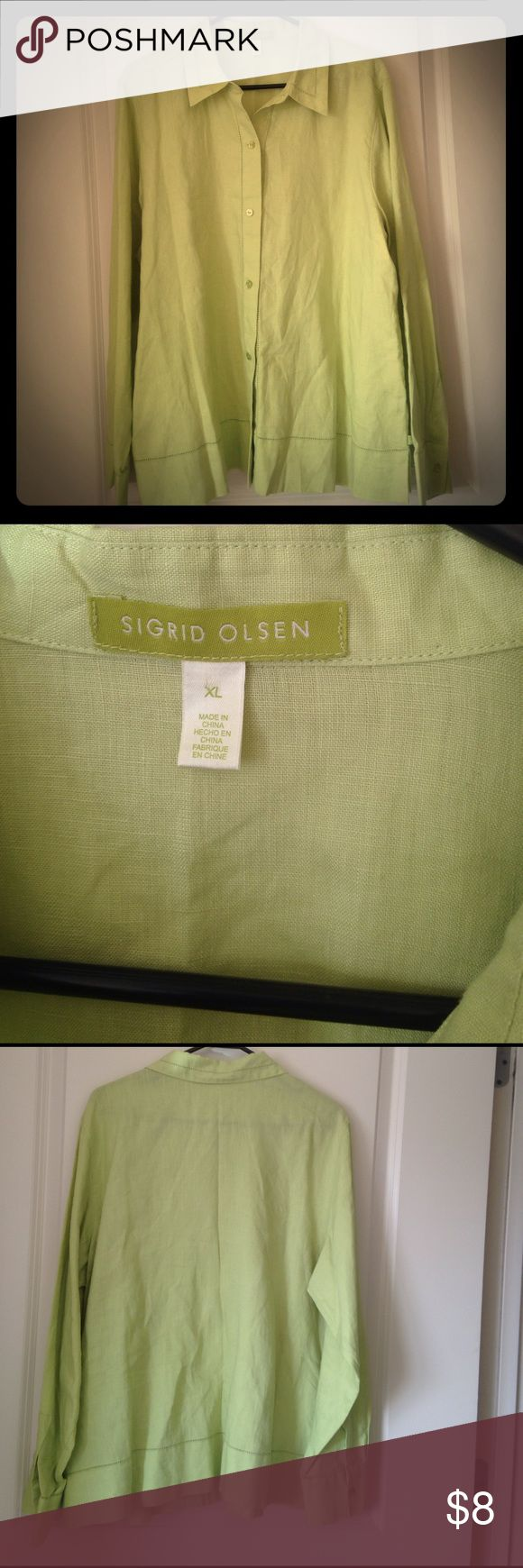 Lime green linen shirt Sigrid Olsen 100% linen shirt. Beautiful, bright lime green. Very summer like!! Sigrid Olsen Tops Button Down Shirts
